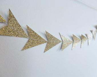 Gold Glitter Triangle Tribal Geometric Paper Garland | Geometric Party Decor