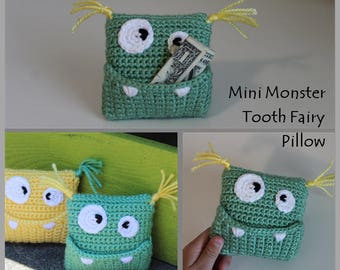 Mini Monster Tooth Fairy Pillow Crochet Pattern ... Instant Download