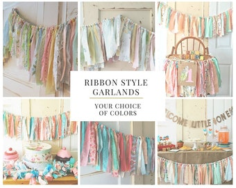 Shabby Chic Fabric Garland for Bridal Showers and Weddings. Boho Modern Style or CUSTOM color  4-10 Foot Handmade Ribbon Style Banner.