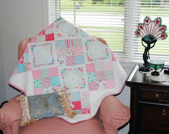Embroidered Victorian throw