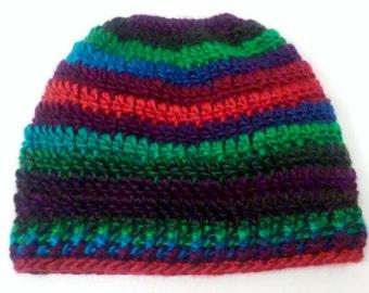 messy bun hat, bun beanie, pony tail hat, runners hat, womens hat, striped hat,bun hat