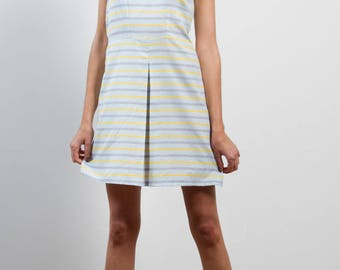 Sleeveless dress in Zephyr striped blue fabric with yellow, with two sections in the back / / striped dress / / summer dress