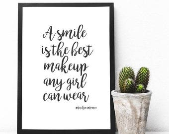 A Smile is the Best Makeup a Girl Can Wear Printable - Wall Decor - Wall Prints - Office Decor - Office Prints - Marilyn Monroe Quote Print