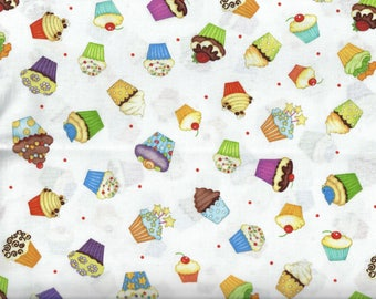 Let's Celebrate Party Cupcakes fabric white - Beth Logan for Henry Glass - by the continuous YARD