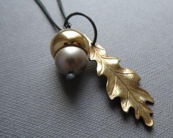Platinum Acorn Golden Oak Leaf Black Silver Necklace