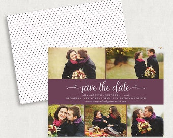 Purple Save the Dates, Photo Save the Date Cards, Photo Save the Date Magnets, Printable Save the Dates, Printed Save the Dates, DIY, PDF