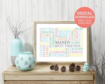 Best Friend Word Art, Personalised, Word Cloud, Friendship Gift, DOWNLOAD, Poster, Personalised, Unique gift, Best Friend, FR001