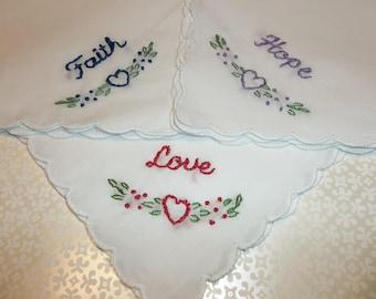 Christian lady hanky , set of 3, faith, hope , love handkerchief, scripture hanky, christmas Christian hankie, gift for mom, ready to ship