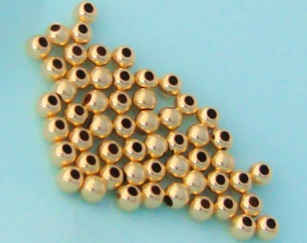 50 Gold Filled 2.5mm Round Beads