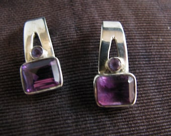 c072 Beautiful Sterling Silver Long Post Earrings with Purple Stones