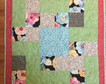 Handmade Light and Bright Baby or Stroller Quilt