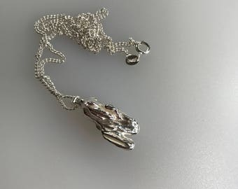 Silver Freeform Pendant, Broom Cast, with a Sterling Silver Curb Chain