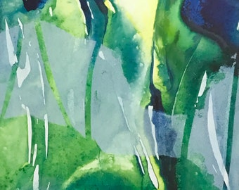 Painting called Rosalie mixed liquid watercolor on yupo paper