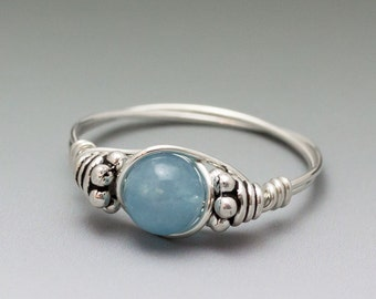Blue Hemimorphite Bali Sterling Silver Wire Wrapped Bead Ring - Made to Order, Ships Fast!