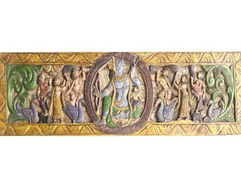 Vintage Conscious Design Antique Hand carved Ram Sita Wedding Headboard Wall decor Wood Sculpture Living room Interior
