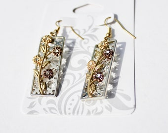 Rectangle Earrings with Flowers and Crystal Accents