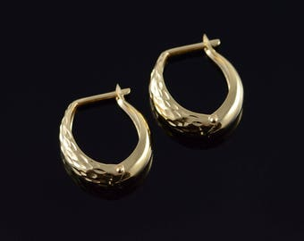 14k Hollow Hoop Carved Accent Earrings Gold