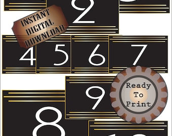 Roaring 20s Table Numbers Printable ~ JPG Files ~ Prohibition Roaring 20s Party ~ Gatsby Era Speakeasy Wedding Decor ~ Gold Black Art Deco