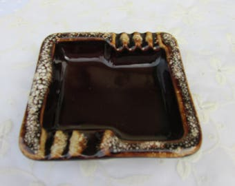 Vintage Brown Drip Pottery Ashtray 4 7/8""