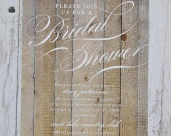 Rustic Bridal Shower Invitation. Set starts with 25 cards including envelopes!