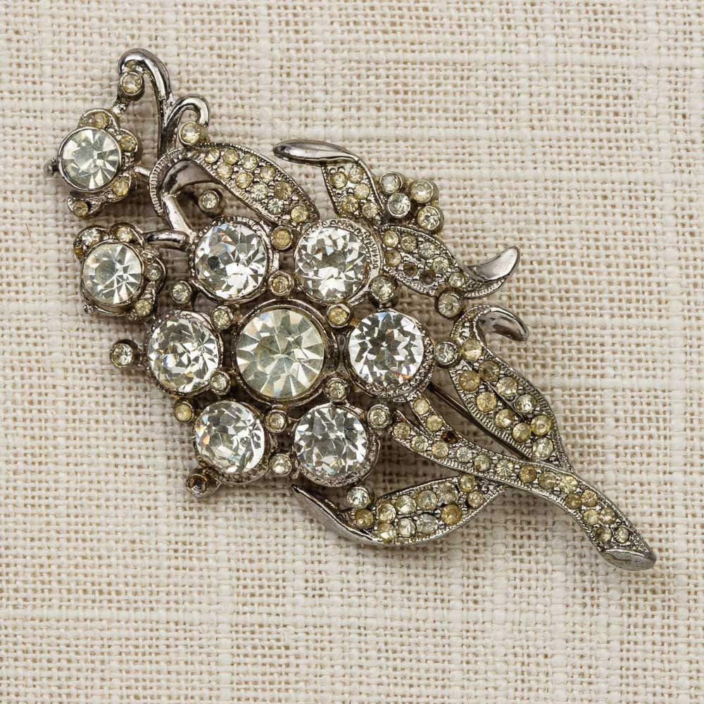 Art Deco Brooch Vintage Pot Metal Flower Leaves Bouquet Silver ...