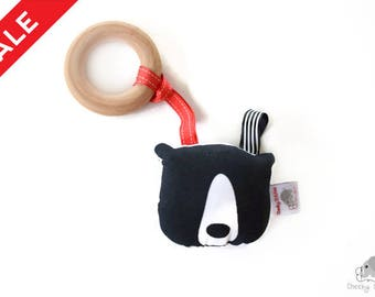 SALE: Teething toy black bear, natural wooden teething ring, squeaker bear, baby teething toy, monochrome baby toy, woodland baby toy