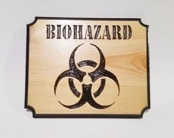 Biohazard, Biohazard Sign, Carved Wood Sign, Door Sign, Wall Sign, Bio-Hazard Symbol, Wood Carved Sign, Bio-Hazard