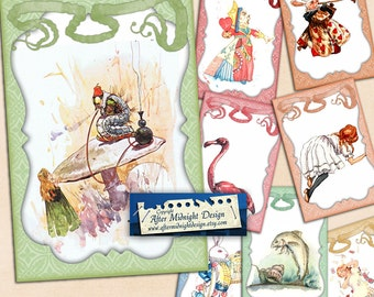 Alice in Wonderland Cards No 1 Alice decorations, Alice party supplies, digital collage sheet, digital download