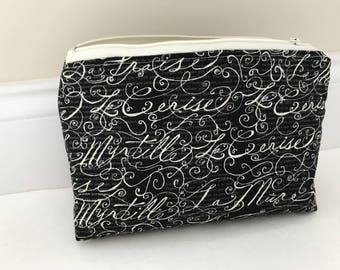 Elegant Black and Cream Zippered Pouch