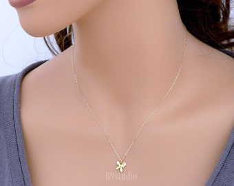 Dainty orchid necklace, Tiny flower necklace, gold filled chain, delicate everyday jewelry, holidays gift, wedding, bridesmaid gift
