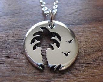 Miniature Palm Tree Pendant - Handmade Silver Palm Tree Necklace - Desert Island Necklace