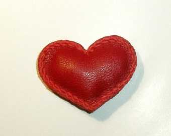 Heart, heart pin, lapel pin, Leather Heart, Heart Brooch, heart lapel, love pin, leather brooch, Red Jewelry, christmas gifts, gift for mom