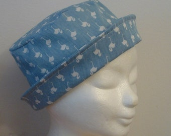Summer hat, cotton sun hat, bucket hats, birds pattern hat, light blue and white colors, women and girls hat, garden and leisure hats