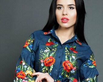 Floral blouse vyshyvanka mexican blouse embroidered blouse festival blouse denim blouse peasant blouse loose blouse loose fit blouse shirt