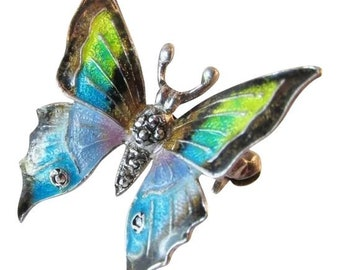 Exquisite Alice Caviness Sterling Silver Enameled Butterfly Brooch Pin Vintage