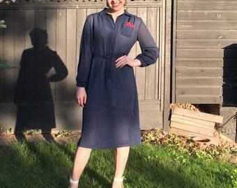 1980s navy pinstripe dress/ 1980s midi length dress with belt/ vintage dress