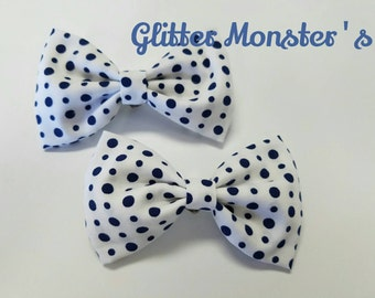 Boys Blue and White Polk a Dot Bow Tie in Cotton, Ring Bearer Bow Tie, Groomsmen Bow Tie, Graduation Bow Tie, Clip on Bow Tie