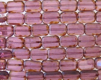 12x8mm Transparent Amethyst Picasso Edged Table Cut Czech Glass Rectangle Beads - Qty 20 (BS159)