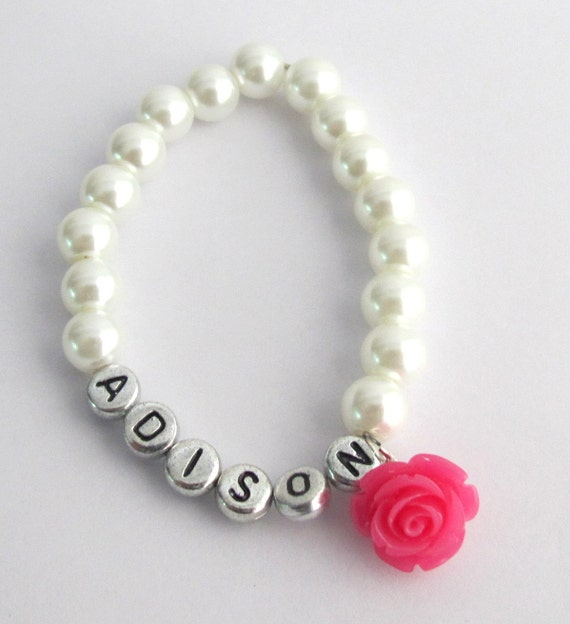 Flower Girl Name Bracelet,Fuchsia Rose Flower,Personalized Girls Jewelry,Kids Pearl Bracelet, Flower Girl Gift Jewelry, Free Shipping In USA