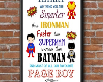 PERSONALISED Superhero Page Boy -  Best Man - Ringbearer -  Usher Gift - Page Boy Thank you Gifts - Print only - FULLY CUSTOMISABLE