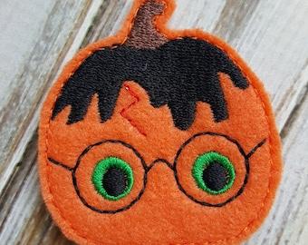 Potter Pumpkin Feltie, Halloween Feltie, Felt Embellishments, Felt Applique, Hair Bow Supplies