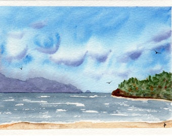 Original watercolor painting GREETING card SFA Pacific NW beach day