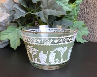 Hellenic Green Jeanette Sherbet Dishes Vintage Glass Dessert Bowl Set 4 - #A2517