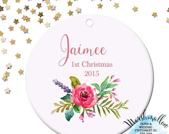 Baby's 1st Christmas Ornament - Personalized Ornament - Christmas Ornament - Custom Gift - Baby Ornament with flowers - Girl Ornament -  WC5