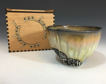 Tea Bowl 9 of 100 in Yellow, Pink and Ivory Crystalline Glaze in a Cherry and Maple Box - One Hundred Series. 3 in tall, Food Safe.