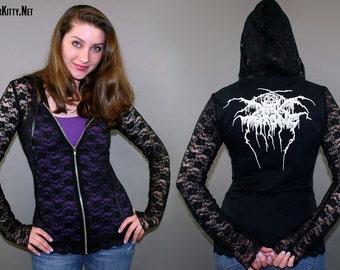 Darkthrone Black Heavy Death Metal Lace Zipper Hoodie Jacket Horror Goth Occult Satanic