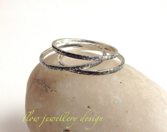 Stacking ring. Hammered,  Argentium Silver Stacking Rings. Shiny silver or oxidized. Minimalist rings