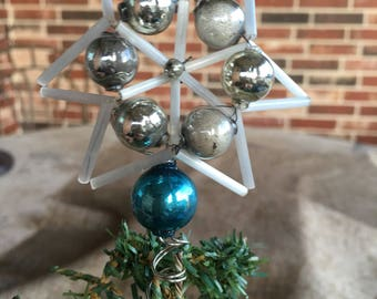 """Antique Vintage 1940's Handcrafted Star Mini Tree Topper For Small Tree, Aqua Blue and Silver Mercury Glass Beaded , 3 3/4"""" Tall"""