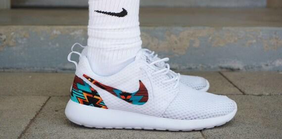 Nouvelle Nike Run Roshe personnalisé Turquoise Orange noir blanc « Haché  Tribal » édition aztèque Mens chaussures tailles 8-15