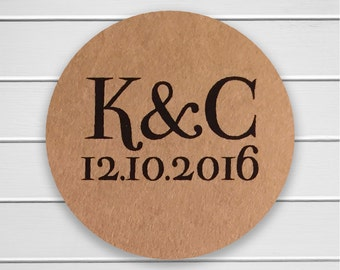 Save The Date Stickers, Initials Sticker, Save the Date or Wedding Envelope Seals, Wedding Stickers (#157-KR)
